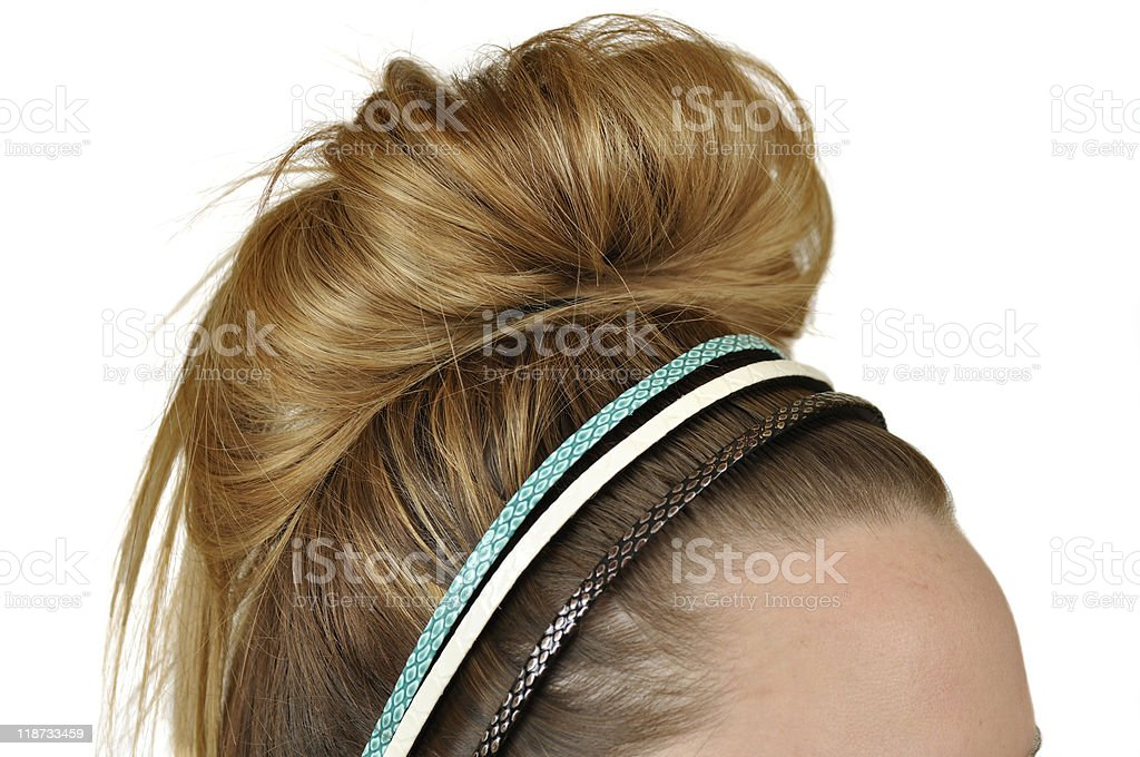 Blonde Messy Bun with Headbands royalty-free stock photo