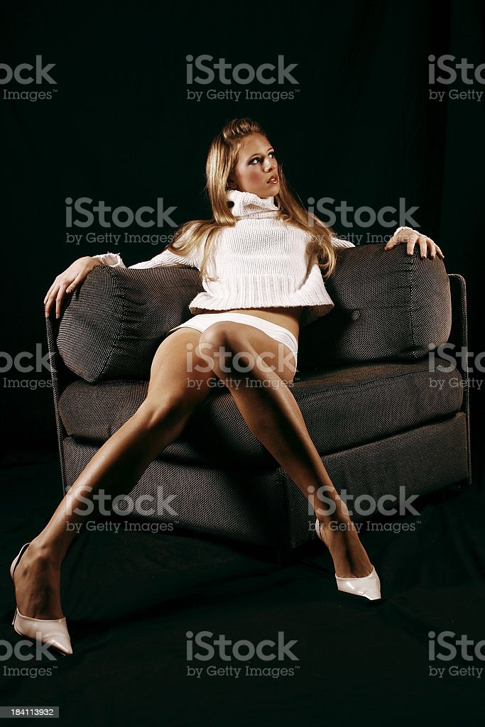 Blonde on the couch 2 royalty-free stock photo