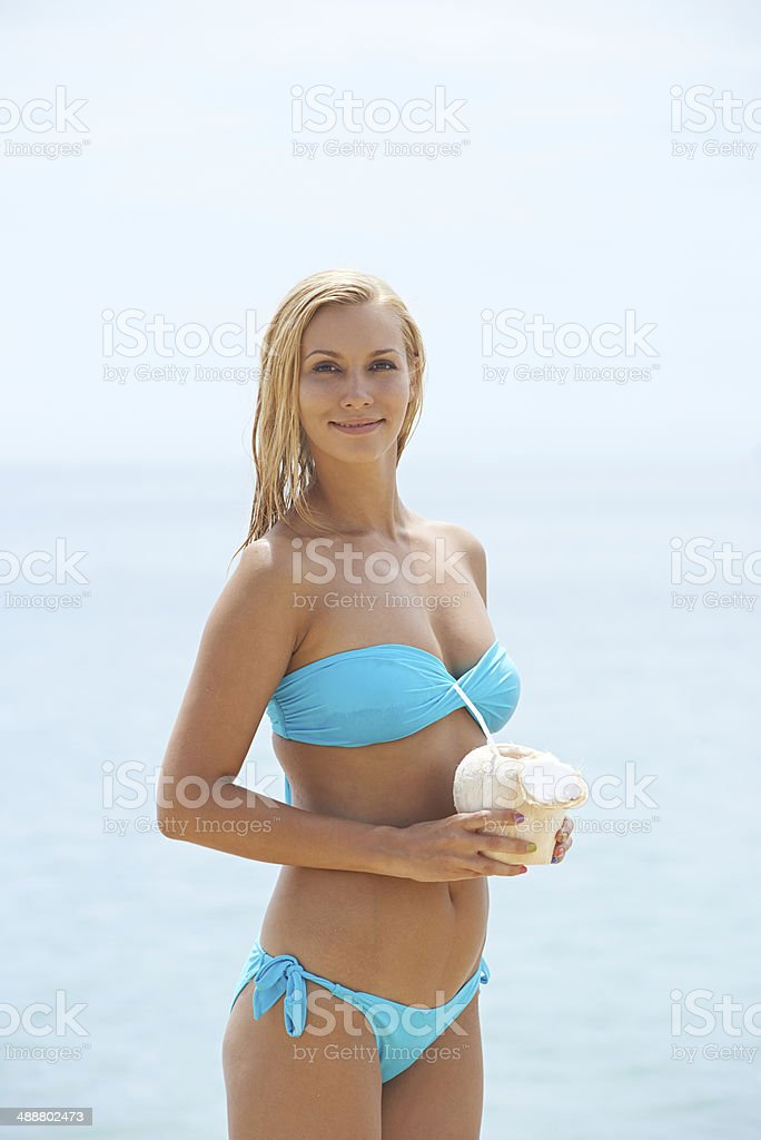 Blonde on vacations stock photo