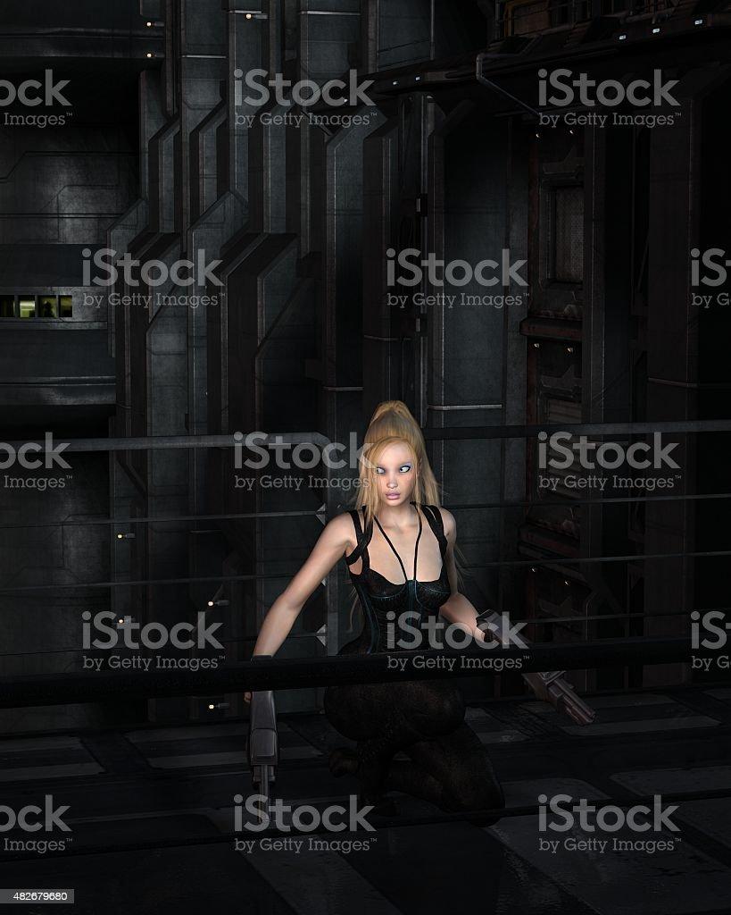 Blonde Sci-fi Heroine Crouching in a Dark City Street stock photo