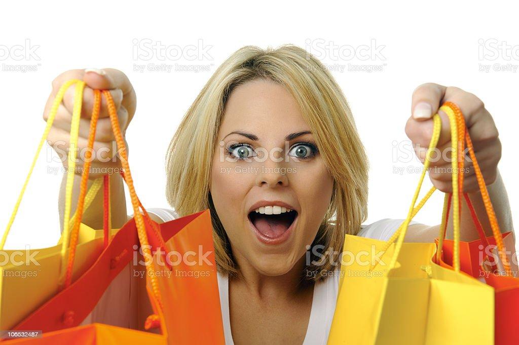 Blonde shopper stock photo