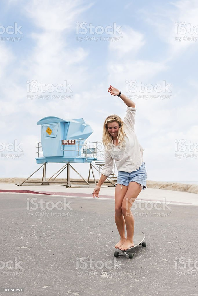 Blonde Skate Boarder royalty-free stock photo