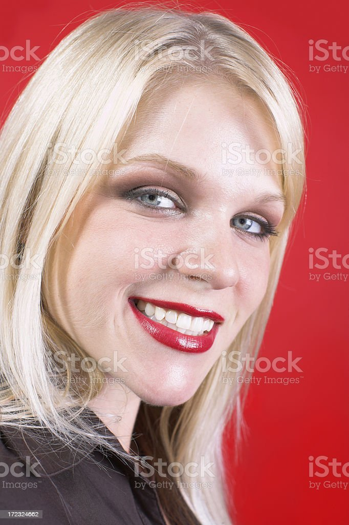 Blonde smiling royalty-free stock photo