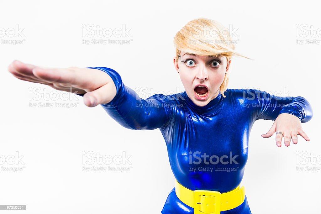 Blonde Superhero Woman Dressed In Blue stock photo