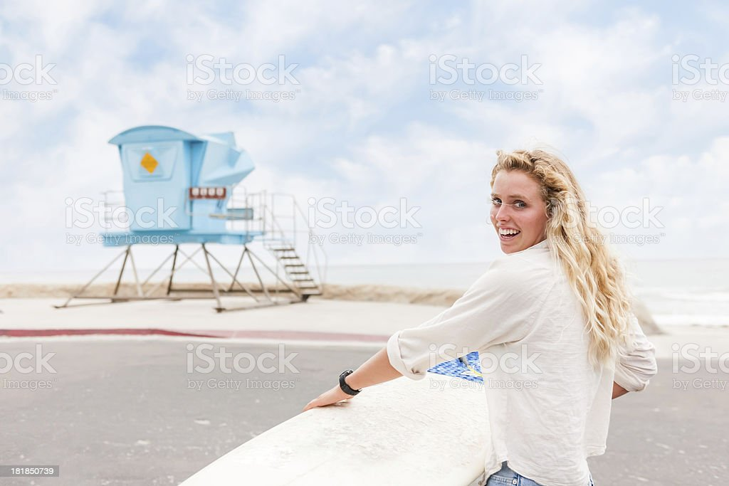Blonde Surfer Girl royalty-free stock photo
