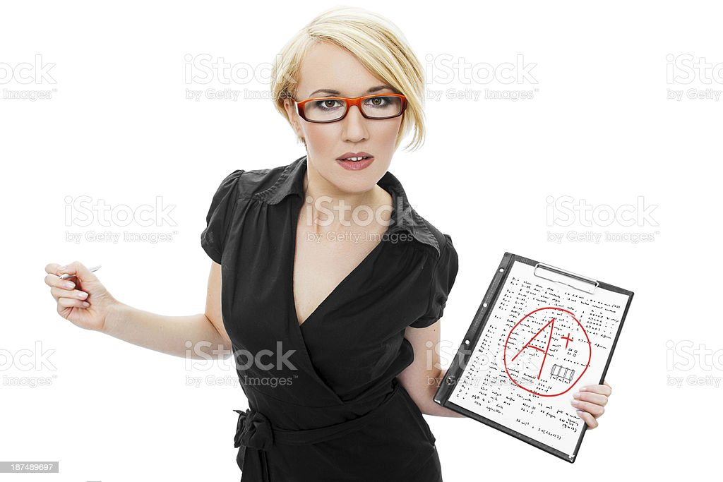 Blonde teacher holding test royalty-free stock photo