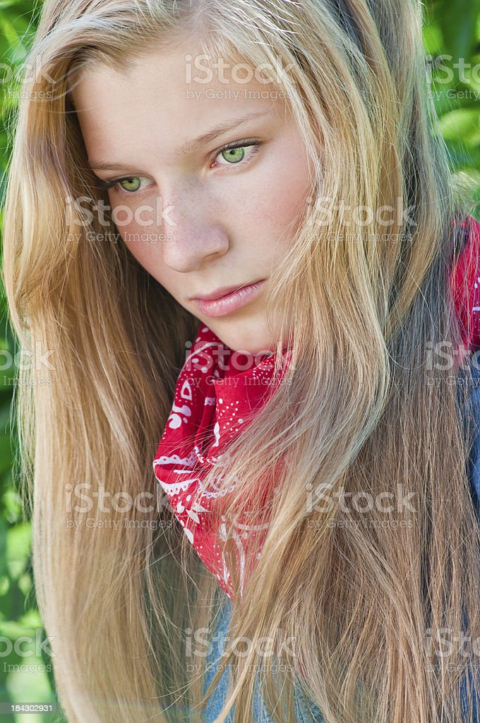 Blonde teen girl with red bandana - VIII stock photo