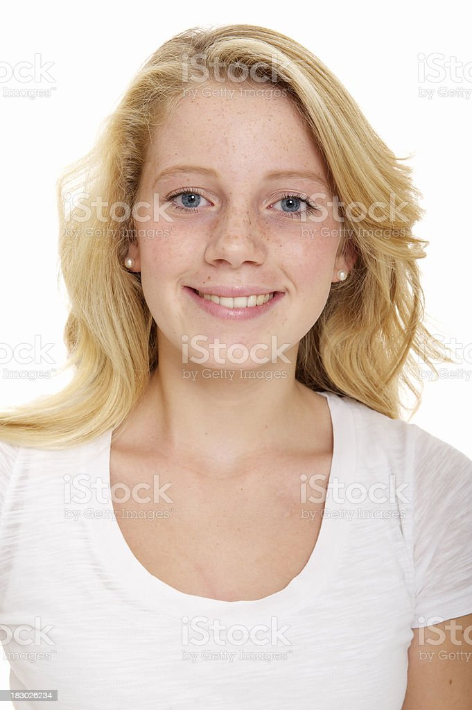 Blonde teenager with freckles royalty-free stock photo