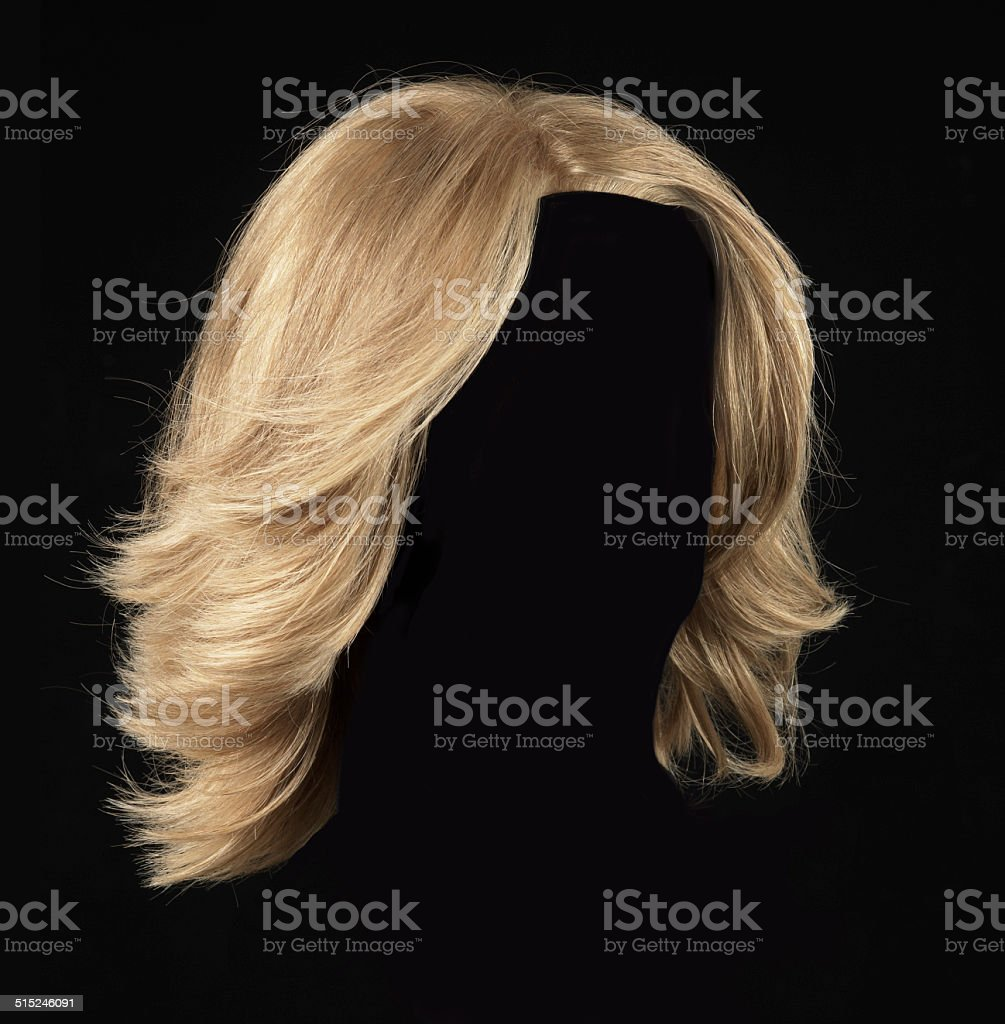 blonde wig stock photo