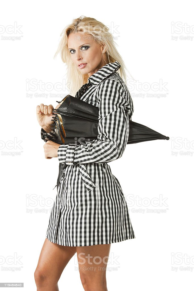 Blonde with an umbrella royalty-free stock photo