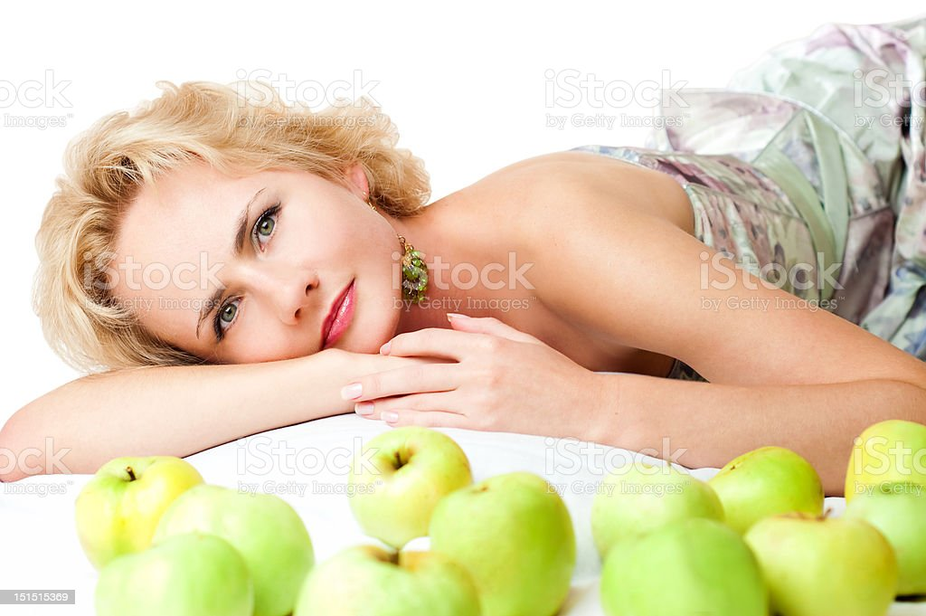 blonde with apples royalty-free stock photo