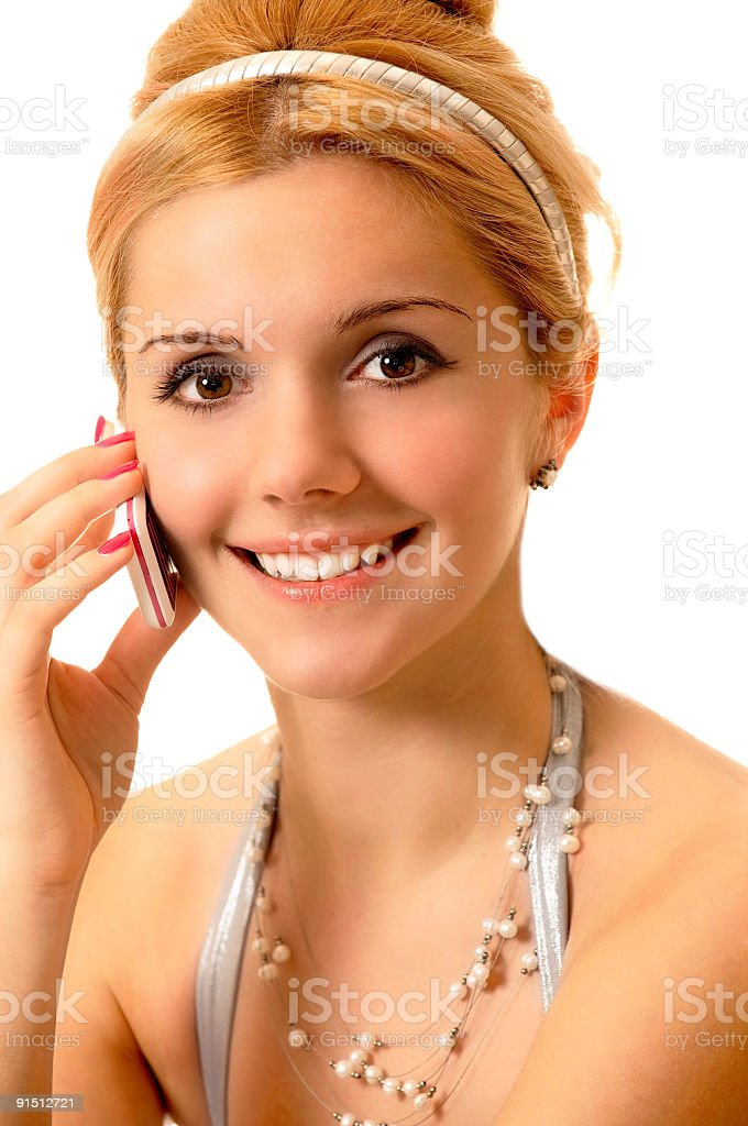 Blonde with cellular phone stock photo