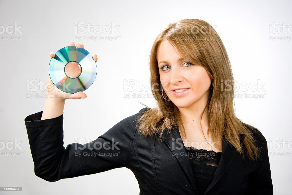 blonde with disc royalty-free stock photo