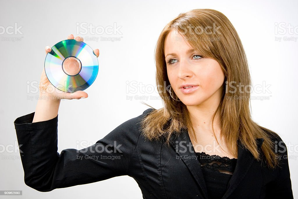 blonde with disc stock photo