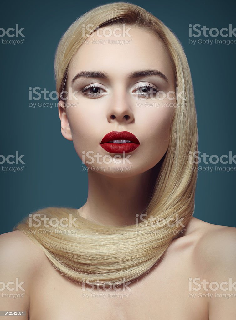 blonde with long hair, portrait, make-up stock photo