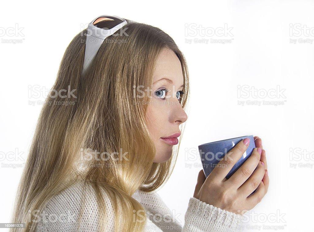 Blonde with mug royalty-free stock photo