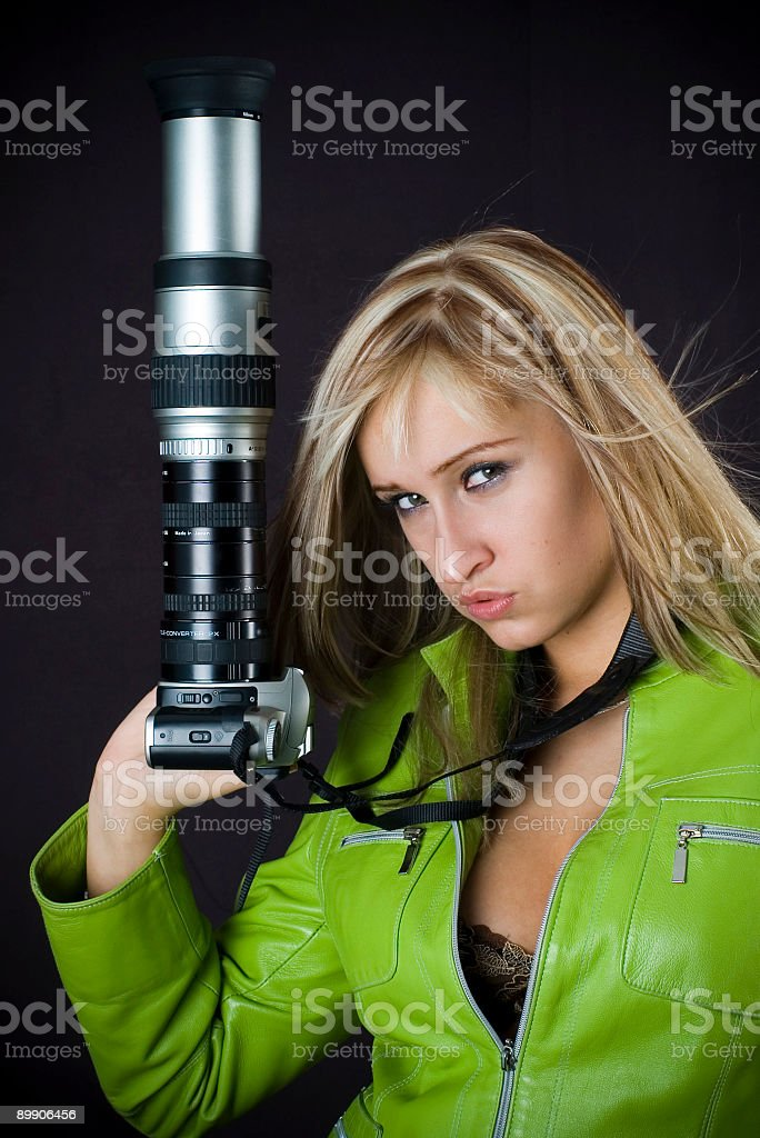 blonde with photo camera royalty-free stock photo