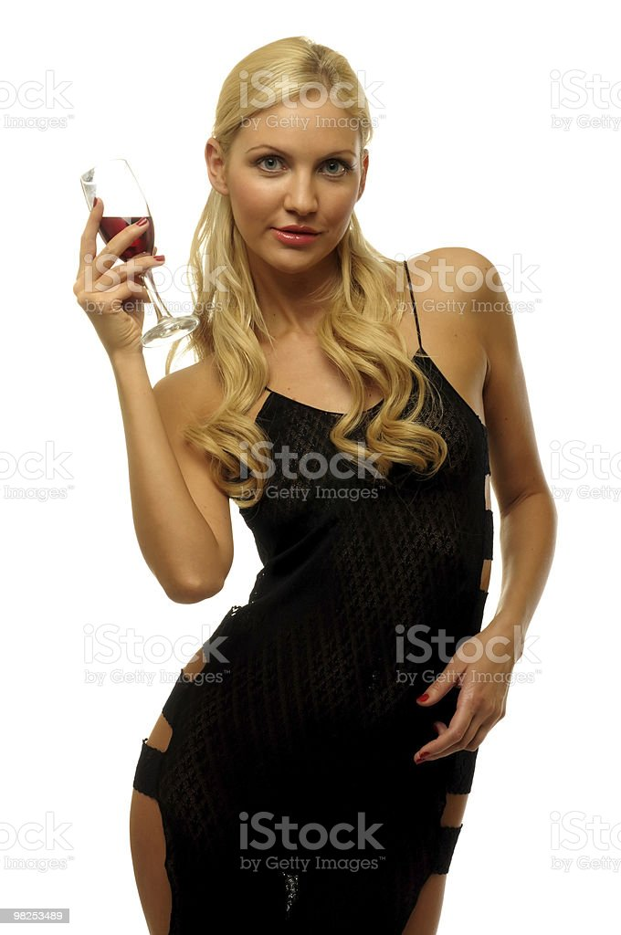 Blonde with wine royalty-free stock photo