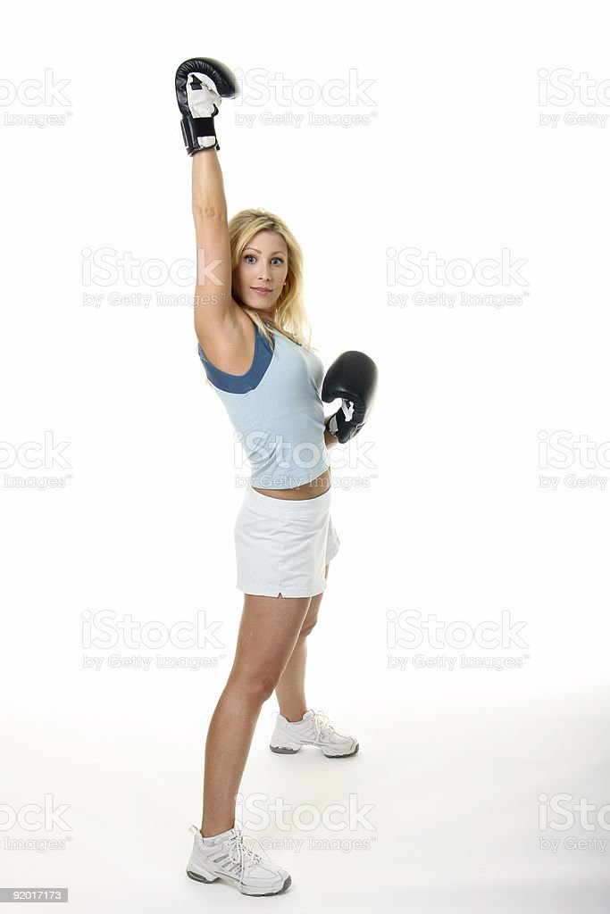 Blonde Woman Boxing royalty-free stock photo