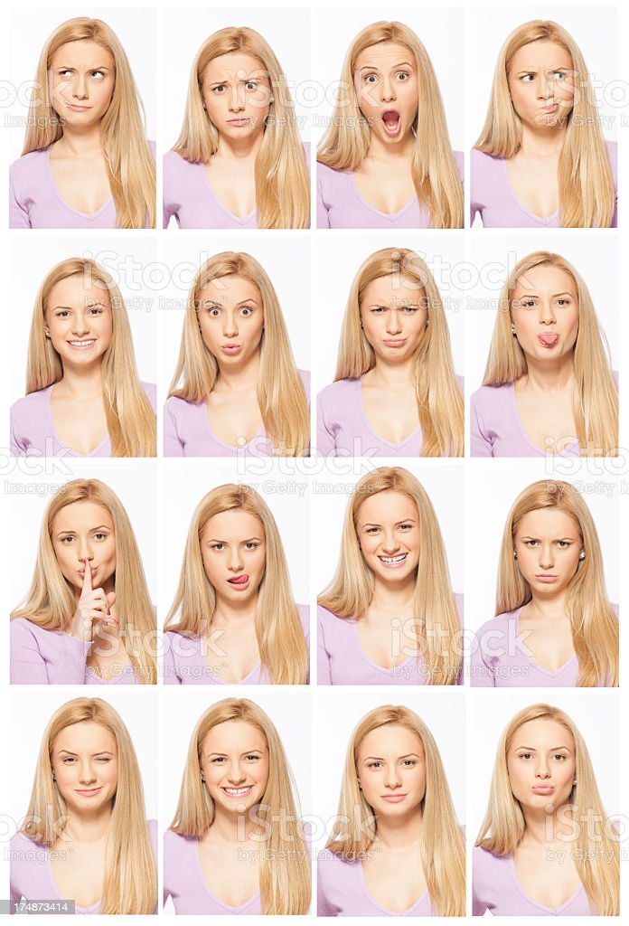 A blonde woman doing different facial expressions royalty-free stock photo