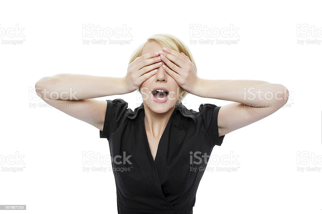 Blonde woman don't see royalty-free stock photo