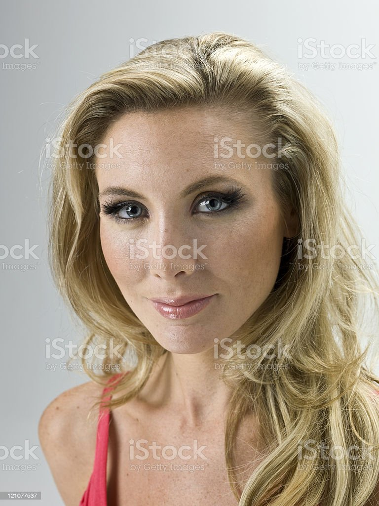 Blonde woman headshot royalty-free stock photo
