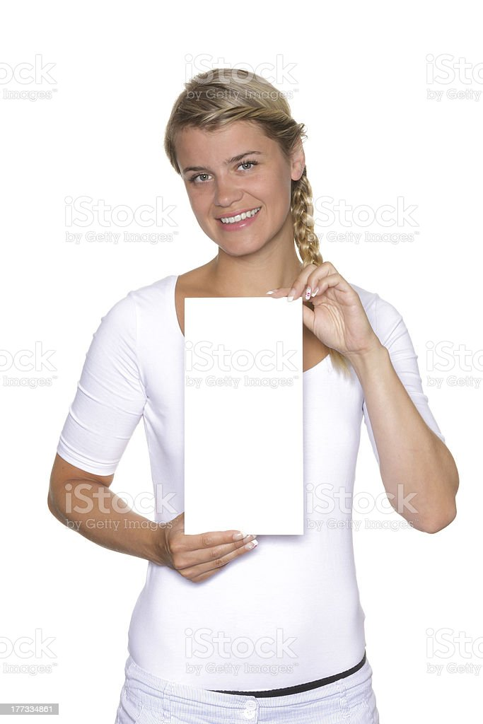 Blonde woman holding a sign stock photo