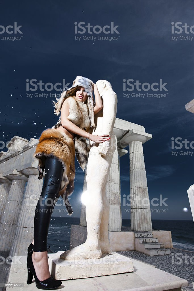 Blonde woman in the Ancient Greece scene royalty-free stock photo