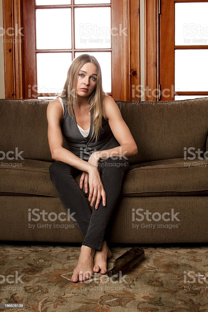 Blonde Woman Looking Sad and Alone royalty-free stock photo