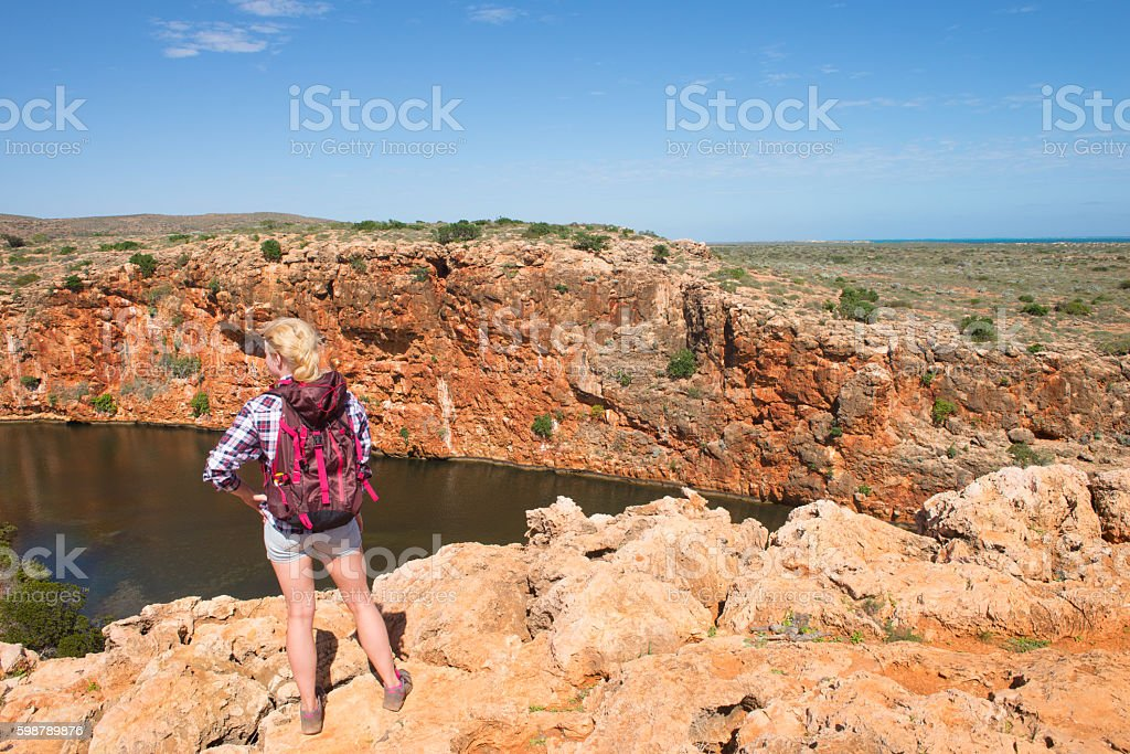 Blonde Woman Outback River Exmouth Australia stock photo