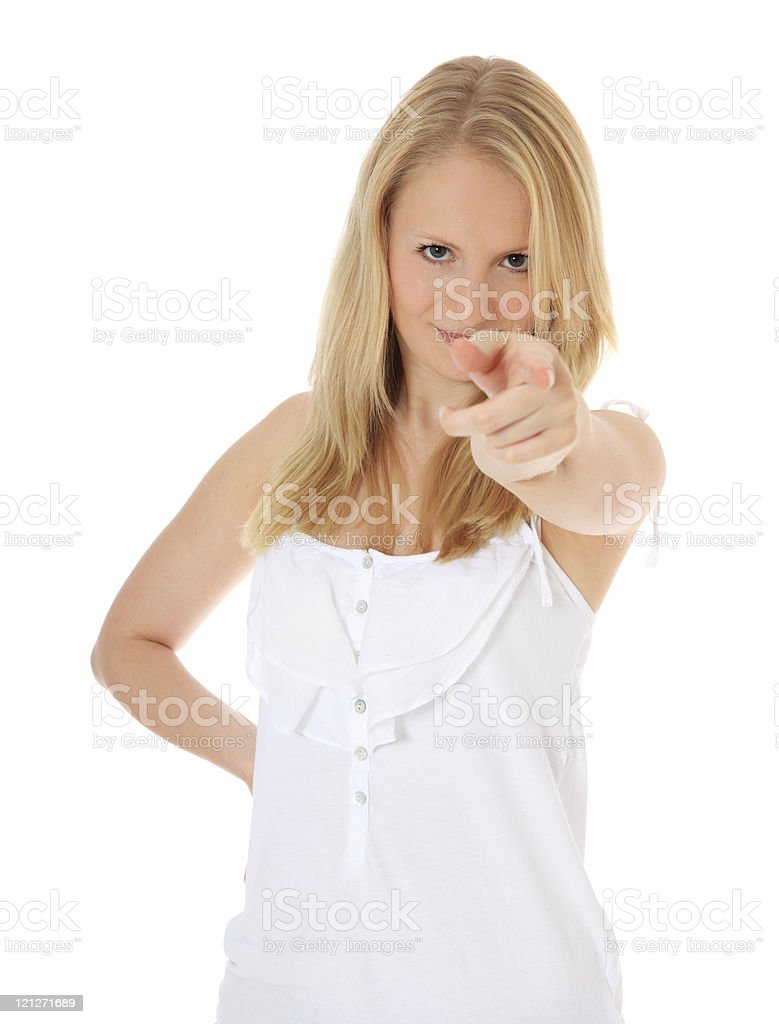 Blonde woman pointing with finger stock photo