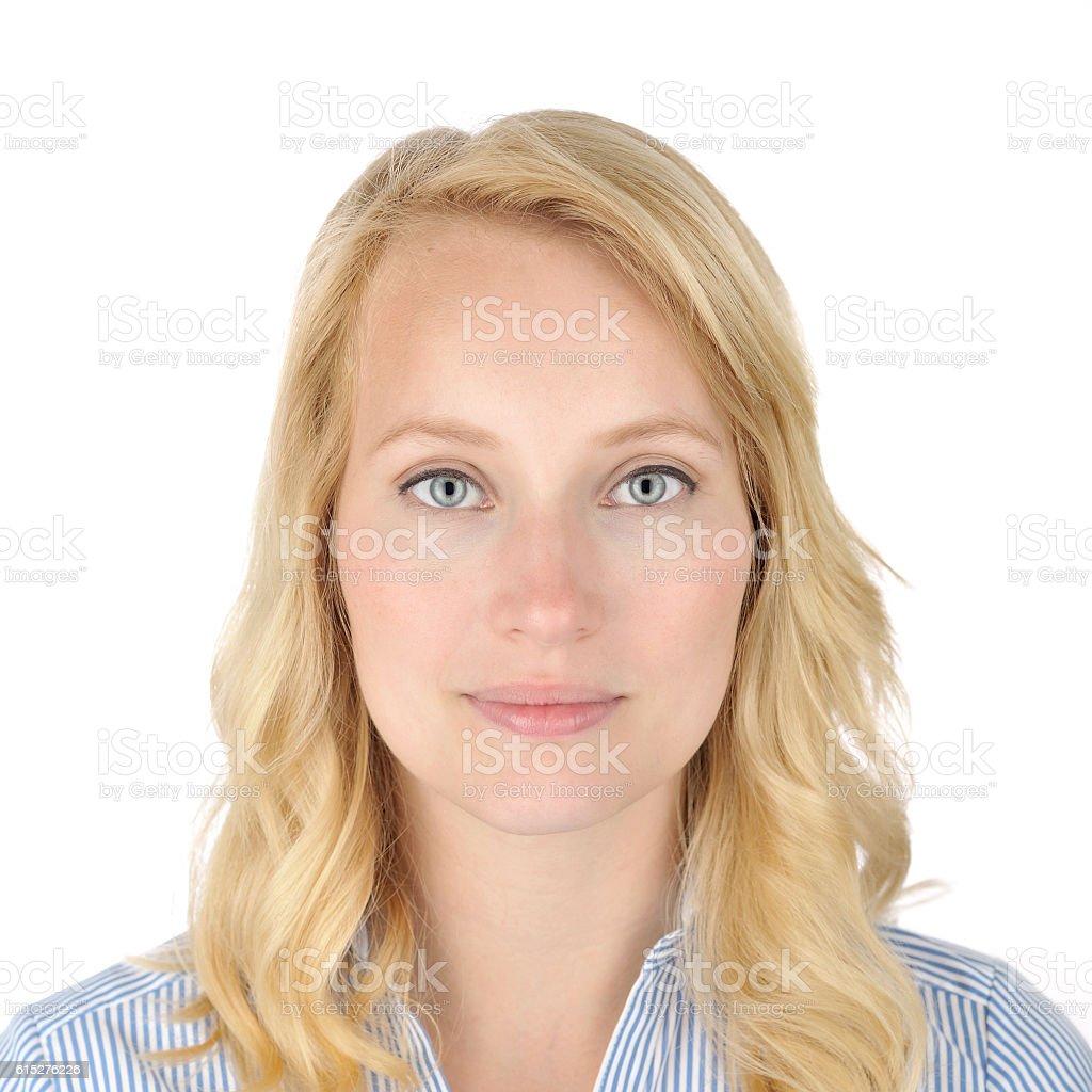 Blonde woman portrait on white stock photo