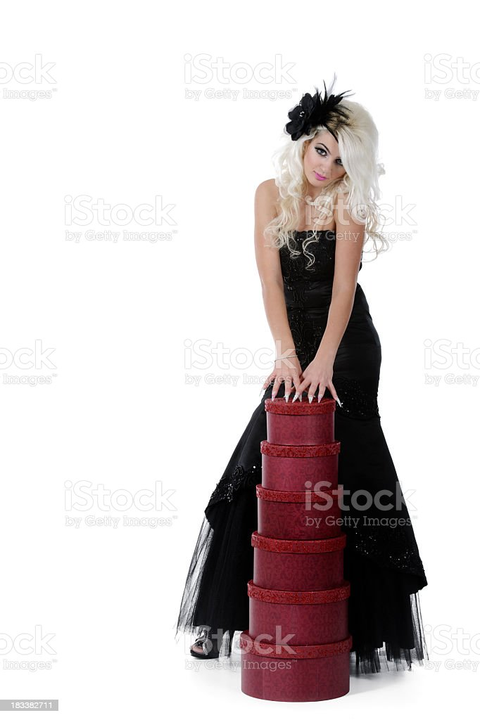 blonde woman posing stock photo