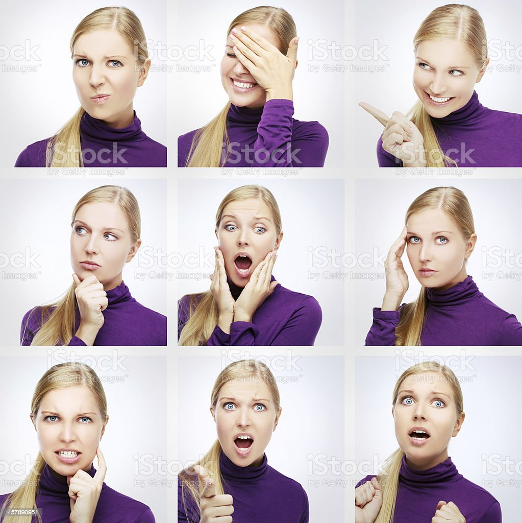 Blonde woman presenting nine different facial expressions royalty-free stock photo