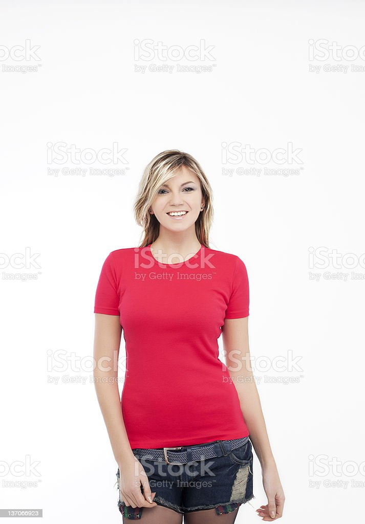 Blonde woman red t-shirt stock photo