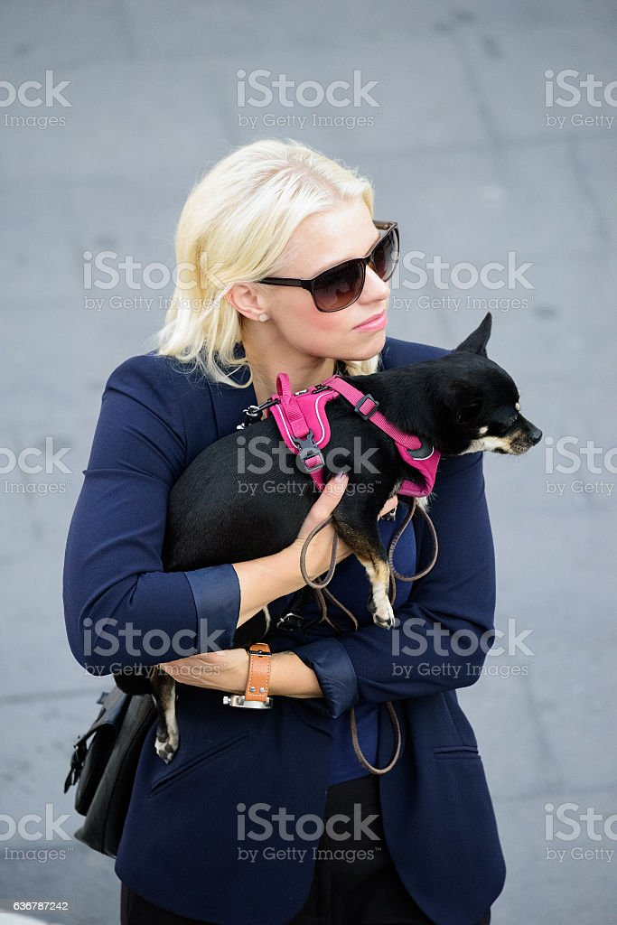 Blonde woman Sergels Torg, with dog, office clothes/suit stock photo