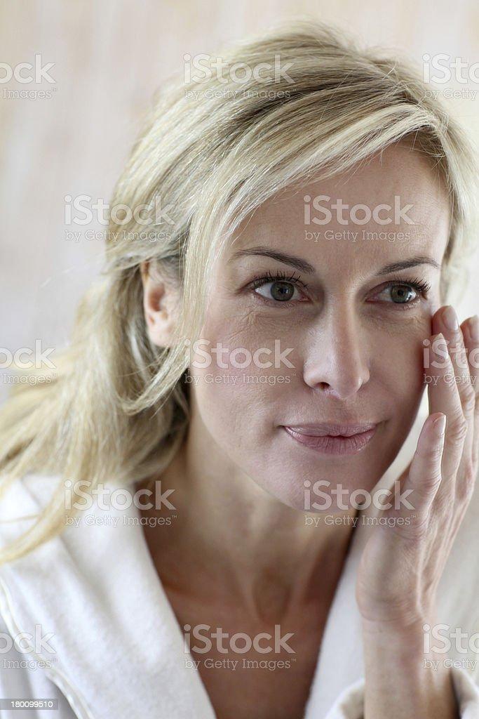 Blonde woman waking up royalty-free stock photo