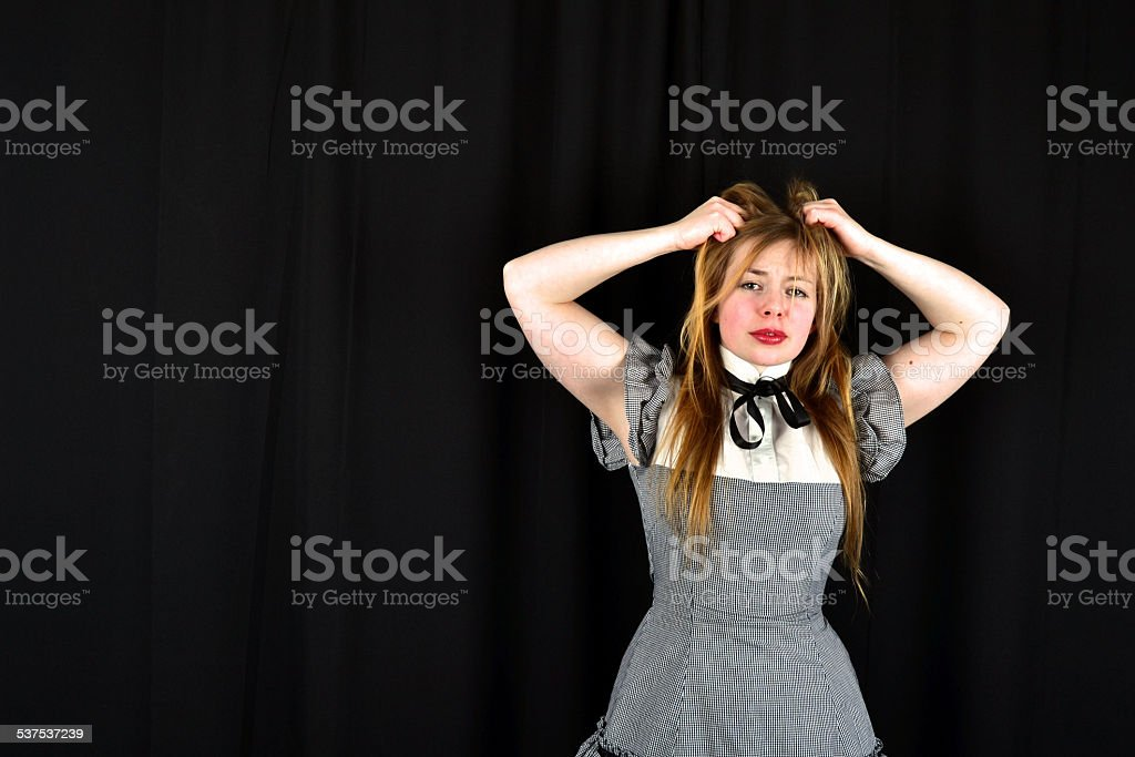 Blonde woman who is frustrated stock photo