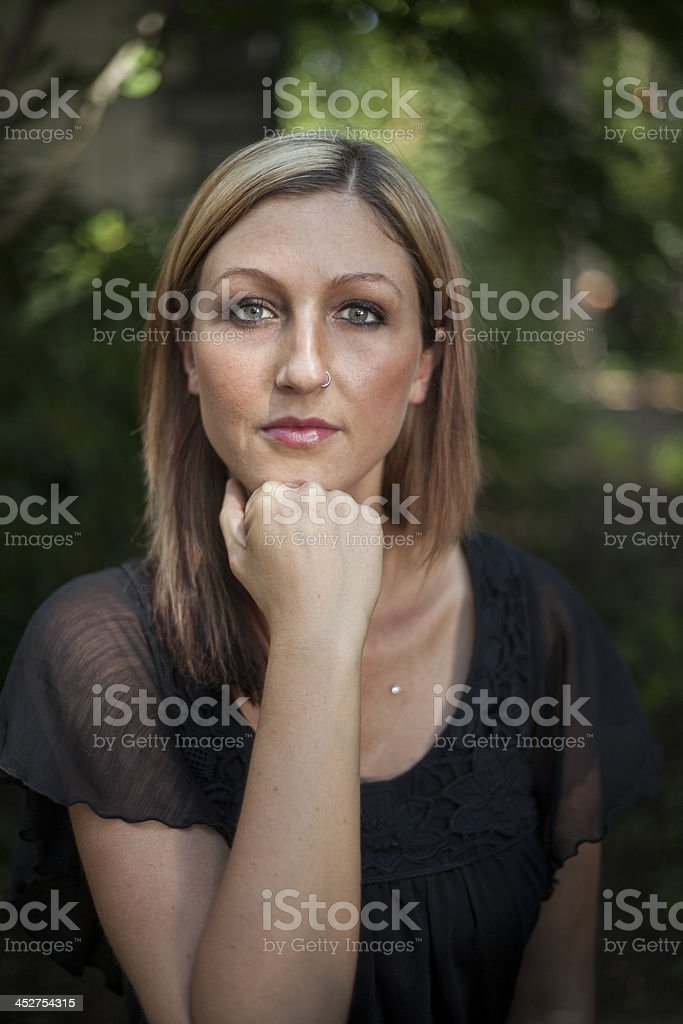 Blonde Woman with Beautiful Blue Eyes stock photo