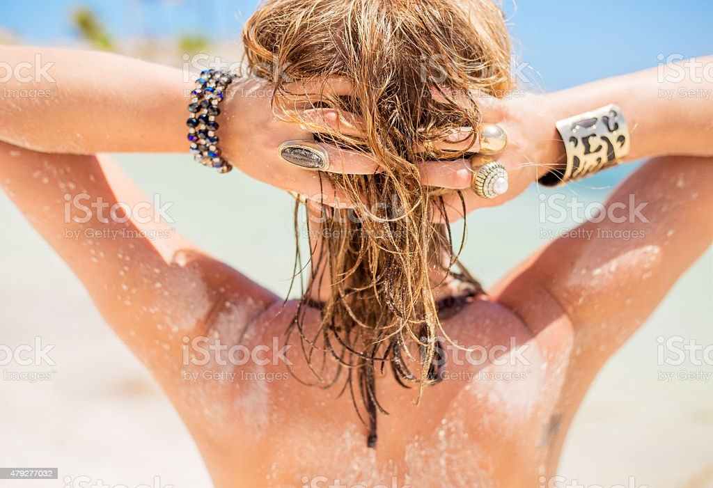 Blonde woman with sandy hair stock photo