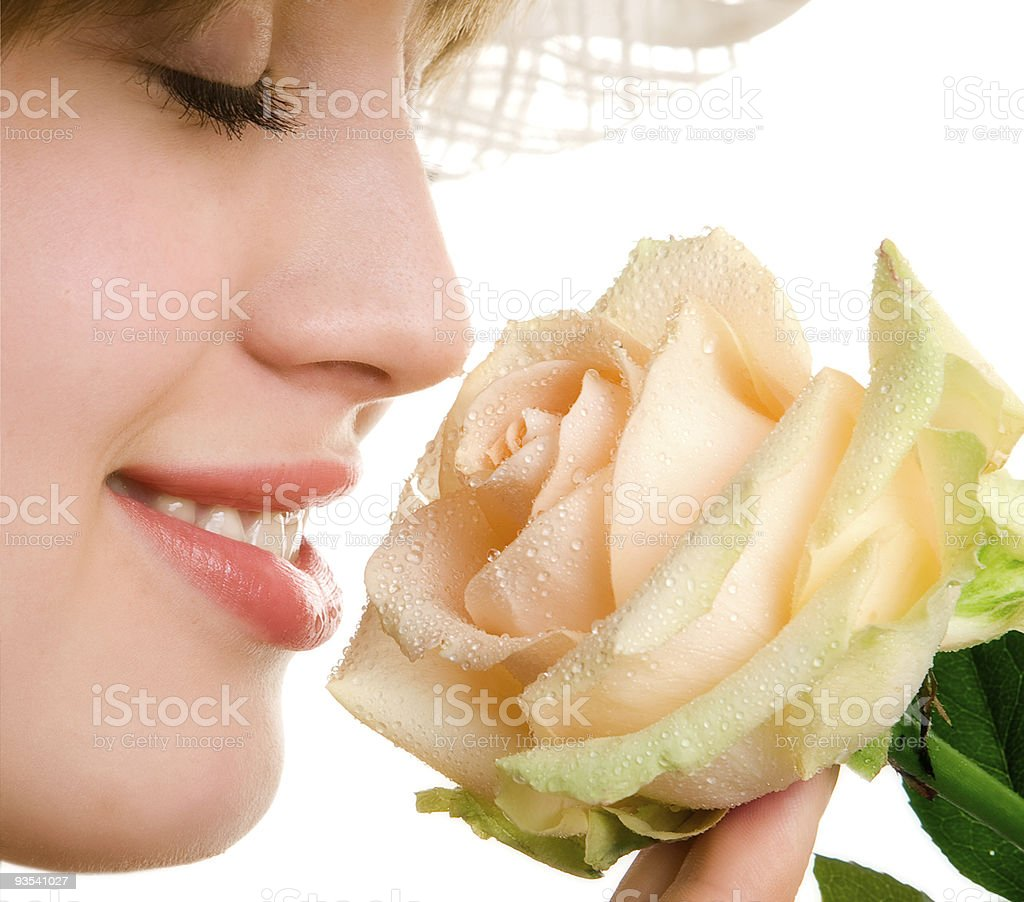 blonde woman with tea rose royalty-free stock photo