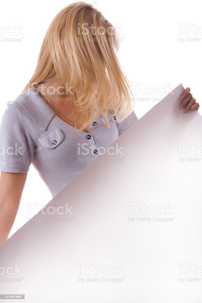 Blonde woman with white sheet of paper. Isolated. royalty-free stock photo