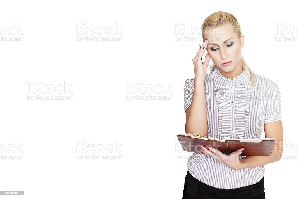 Blonde woman worry royalty-free stock photo