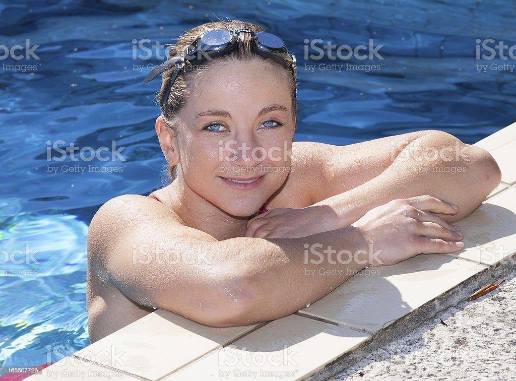 Blonde Women in Pool royalty-free stock photo