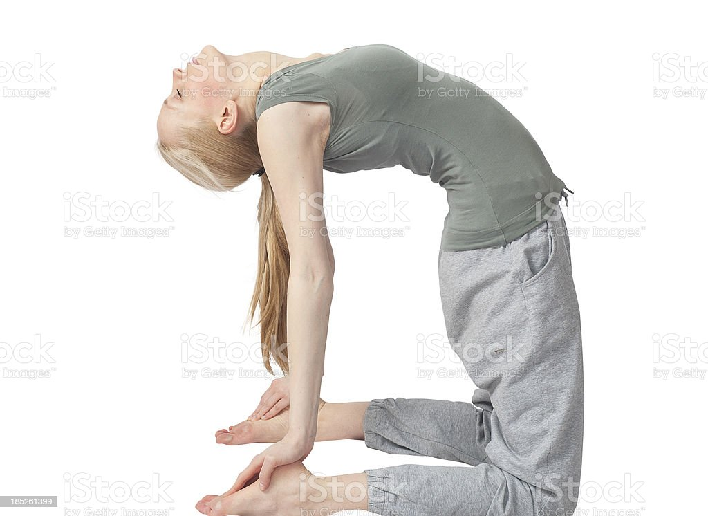 blonde yoga girl - stretching the back torso stock photo