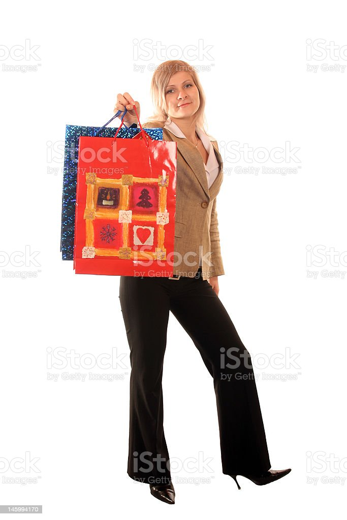 Blondie girl with shopping bag. royalty-free stock photo