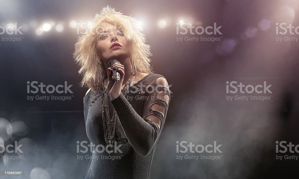 Blondie Lookalike Singer on Stage stock photo
