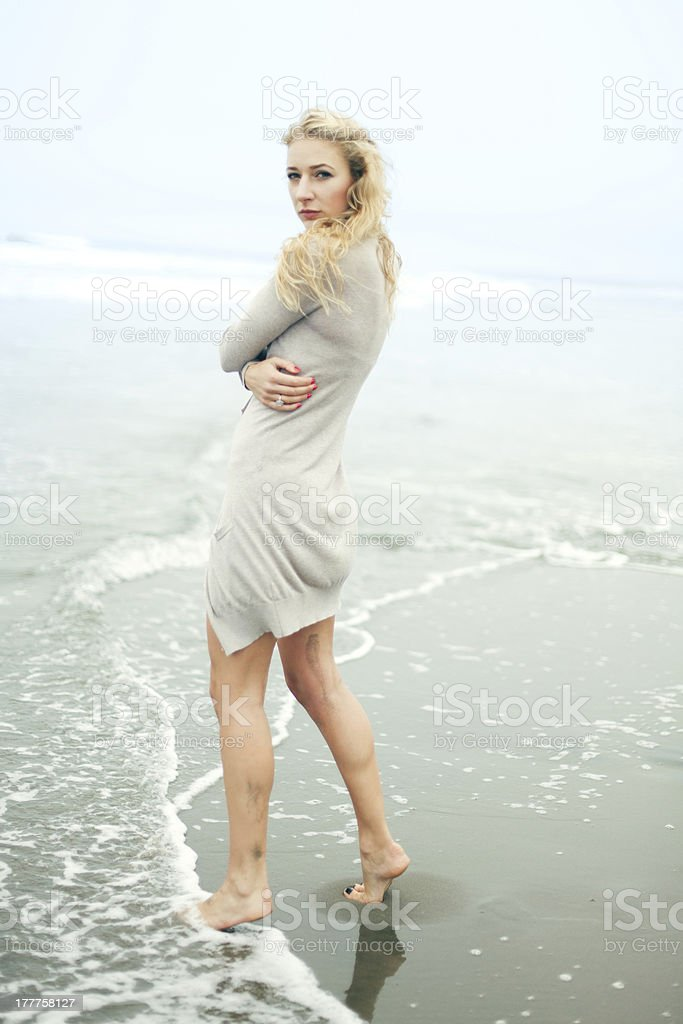 Blondie woman on the beach royalty-free stock photo