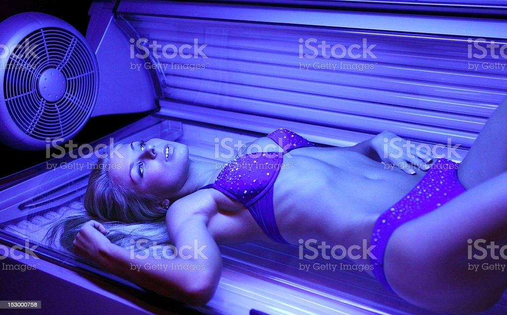 blondy in solarium royalty-free stock photo