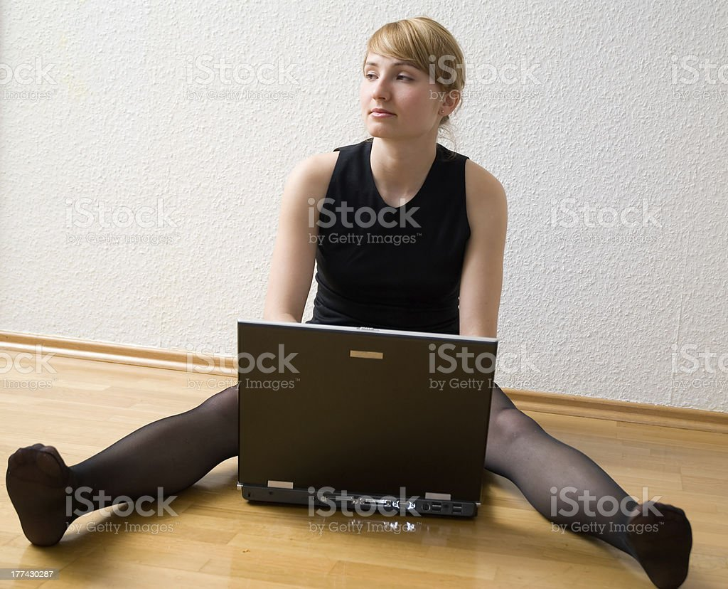 blondy with laptop royalty-free stock photo